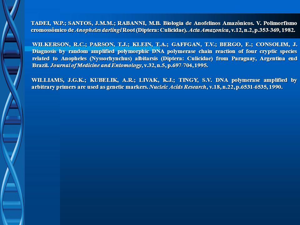 TADEI, W.P.; SANTOS, J.M.M.; RABANNI, M.B. Biologia de Anofelinos Amazônicos. V. Polimorfismo cromossômico de Anopheles darlingi Root (Diptera: Culici
