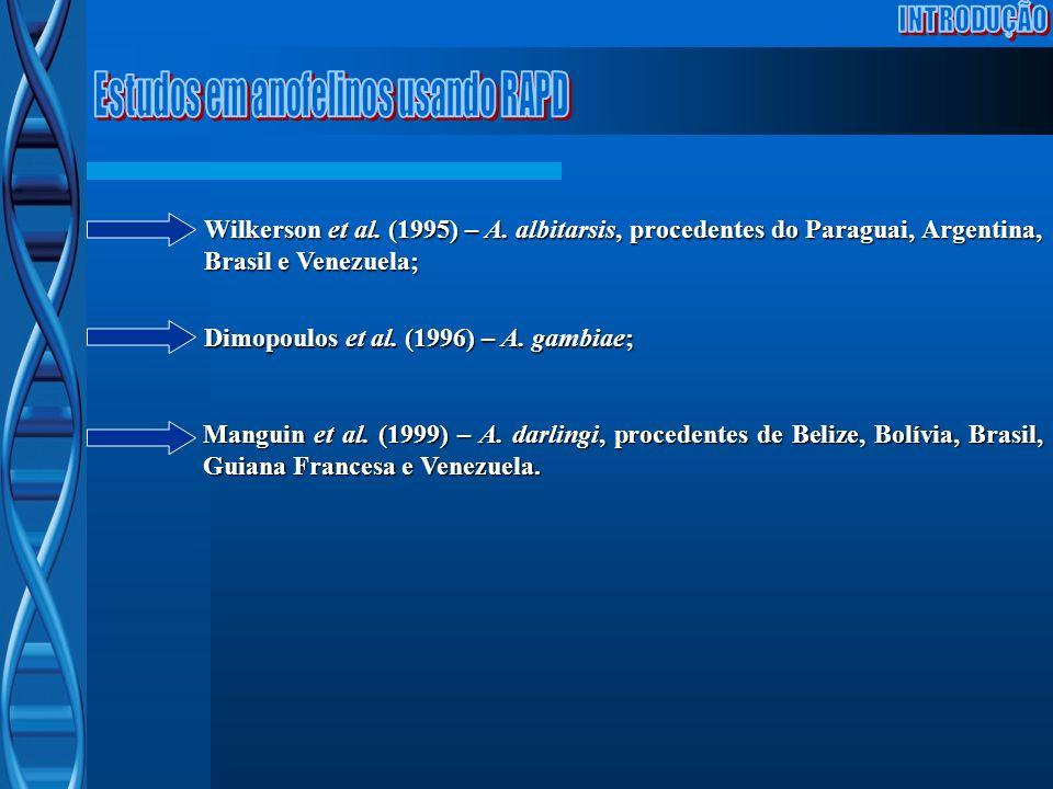 Wilkerson et al. (1995) – A. albitarsis, procedentes do Paraguai, Argentina, Brasil e Venezuela; Manguin et al. (1999) – A. darlingi, procedentes de B
