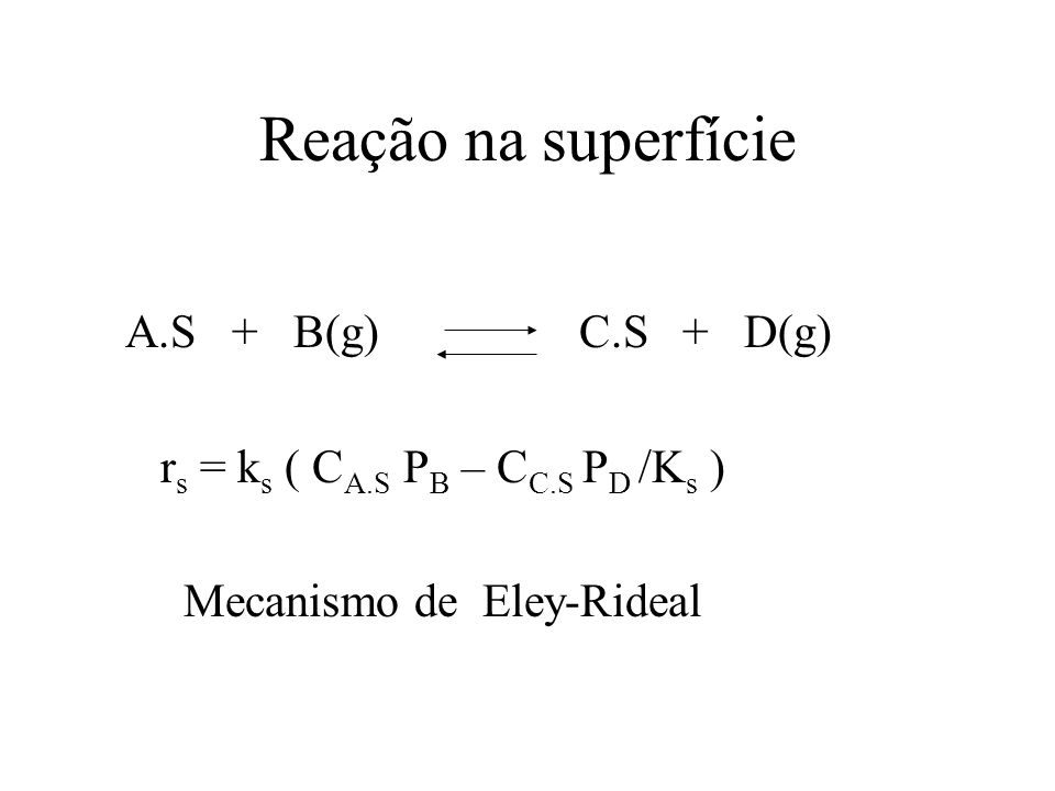 Reação na superfície A.S + B(g) C.S + D(g) r s = k s ( C A.S P B – C C.S P D /K s ) Mecanismo de Eley-Rideal