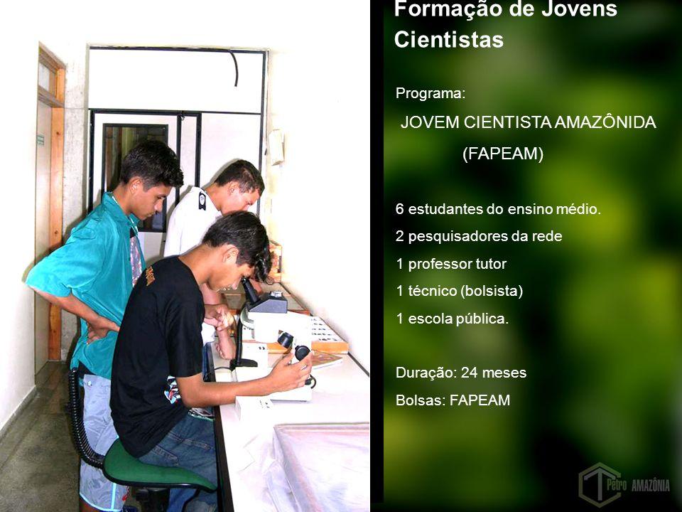 Programa: JOVEM CIENTISTA AMAZÔNIDA (FAPEAM) 6 estudantes do ensino médio. 2 pesquisadores da rede 1 professor tutor 1 técnico (bolsista) 1 escola púb