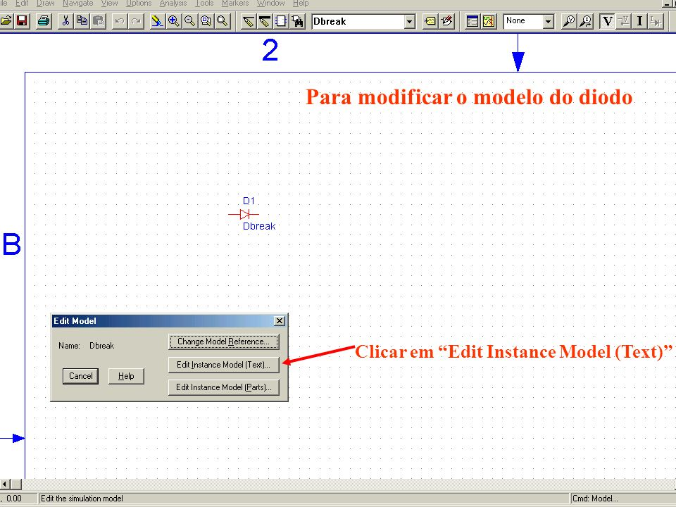 Clicar em Edit Instance Model (Text) Para modificar o modelo do diodo