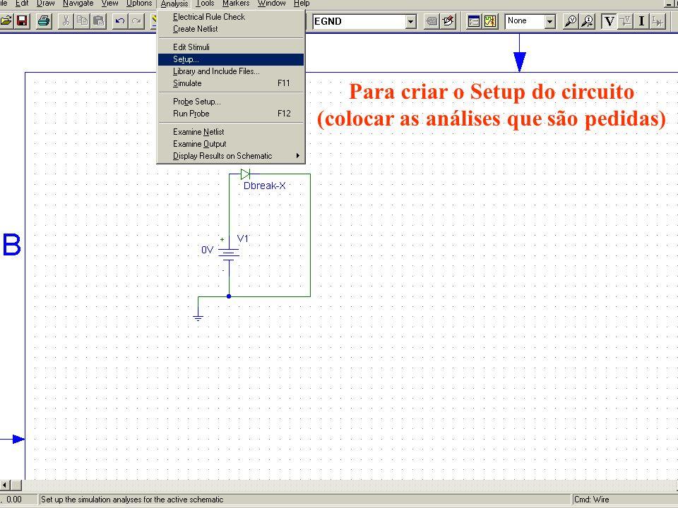 Para criar o Setup do circuito (colocar as análises que são pedidas)