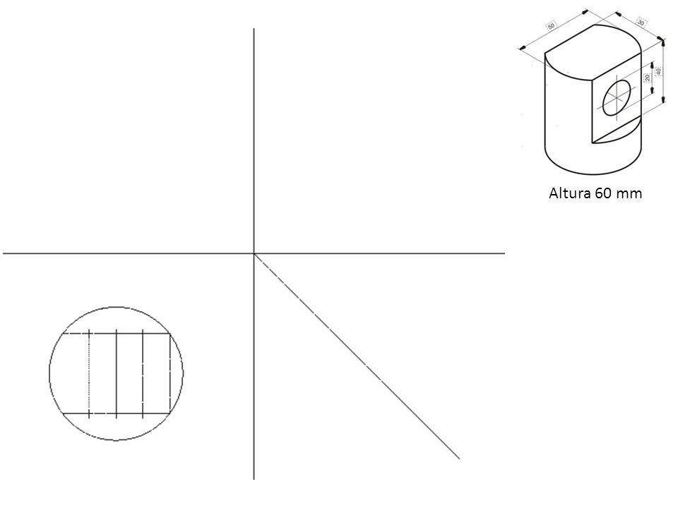 Exercício de Avaliação Desenhe a perspectiva isométrica conforme modelo em vistas ortogonais Nota: ângulo para vértice de referencia 30° Para entregar na próxima aula