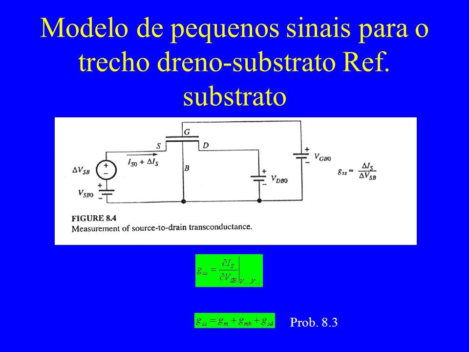 Modelo de pequenos sinais para o trecho dreno-substrato Ref. substrato Prob. 8.3