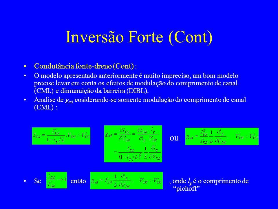 Condutância fonte-dreno (Cont) : O modelo apresentado anteriormente é muito impreciso, um bom modelo precise levar em conta os efeitos de modulação do comprimento de canal (CML) e dimunuição da barreira (DIBL).