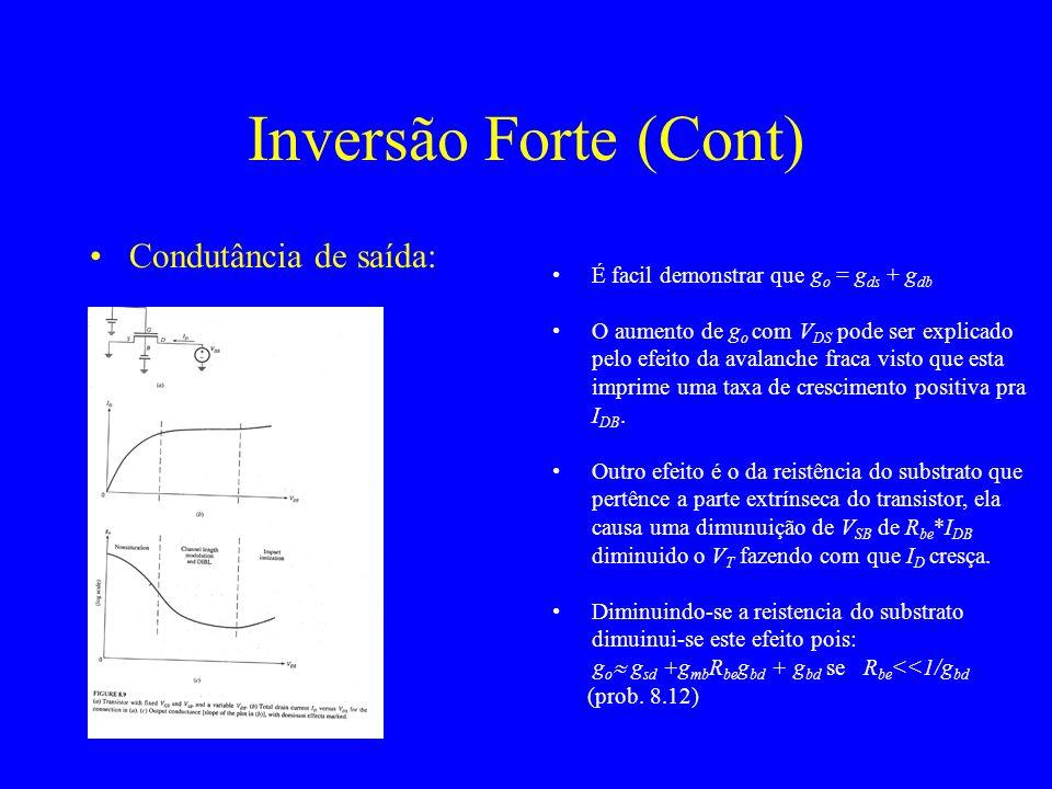 Condutância de saída: Inversão Forte (Cont) É facil demonstrar que g o = g ds + g db O aumento de g o com V DS pode ser explicado pelo efeito da avalanche fraca visto que esta imprime uma taxa de crescimento positiva pra I DB.