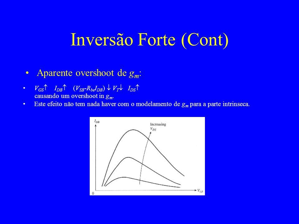 Aparente overshoot de g m : Inversão Forte (Cont) V GS I DB (V SB -R be I DB ) V T I DS causando um overshoot in g m.