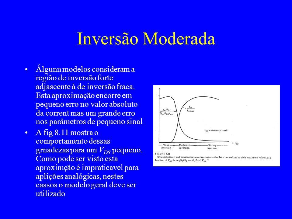 Inversão Moderada Álgunn modelos consideram a região de inversão forte adjascente à de inversão fraca.