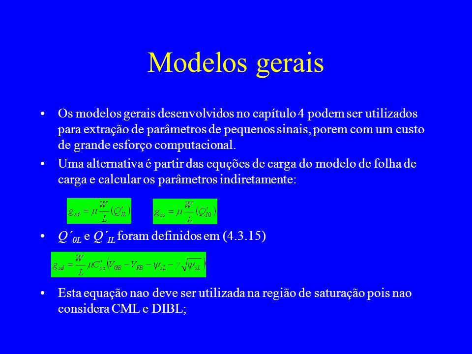 Modelos gerais Os modelos gerais desenvolvidos no capítulo 4 podem ser utilizados para extração de parâmetros de pequenos sinais, porem com um custo de grande esforço computacional.