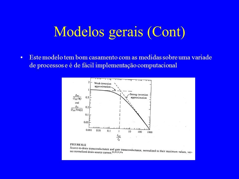 Modelos gerais (Cont) Este modelo tem bom casamento com as medidas sobre uma variade de processos e é de fácil implementação computacional