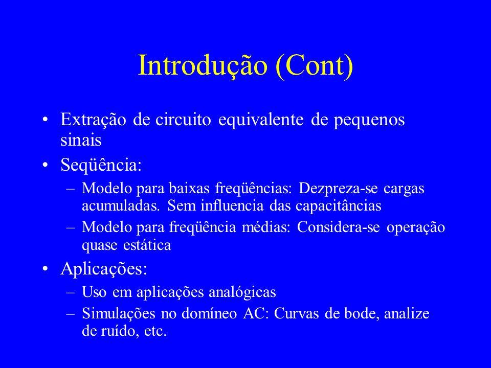 Introdução (Cont) Extração de circuito equivalente de pequenos sinais Seqüência: –Modelo para baixas freqüências: Dezpreza-se cargas acumuladas.