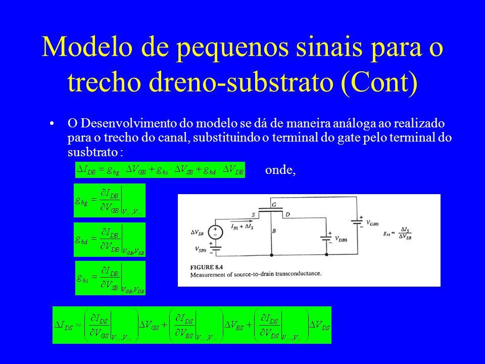 Modelo de pequenos sinais para o trecho dreno-substrato (Cont) O Desenvolvimento do modelo se dá de maneira análoga ao realizado para o trecho do canal, substituindo o terminal do gate pelo terminal do susbtrato : onde,