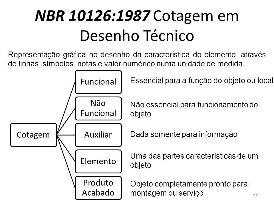 NBR 10126:1987 Cotagem em Desenho Técnico CotagemFuncional Não Funcional AuxiliarElemento Produto Acabado Representação gráfica no desenho da característica do elemento, através de linhas, símbolos, notas e valor numérico numa unidade de medida.
