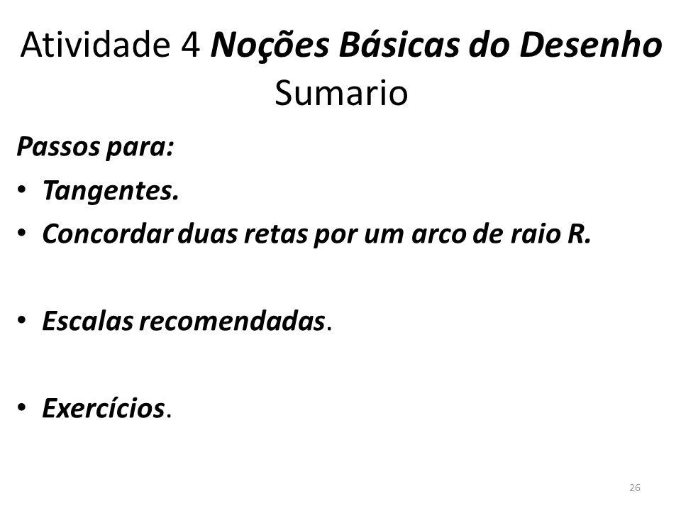 Atividade 4 Noções Básicas do Desenho Sumario Passos para: Tangentes.