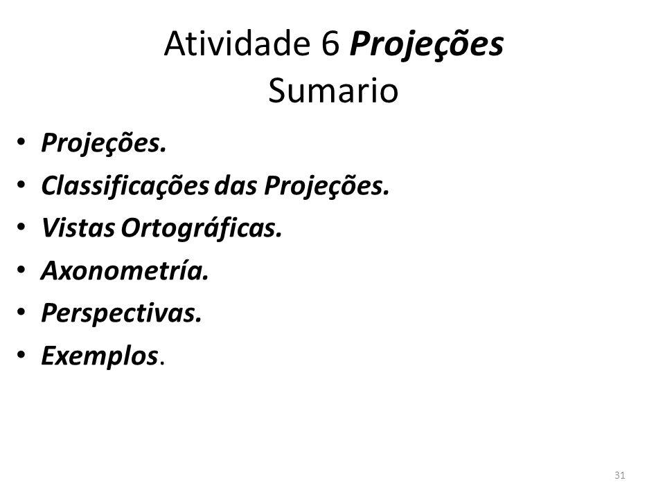 Atividade 6 Projeções Sumario Projeções.Classificações das Projeções.