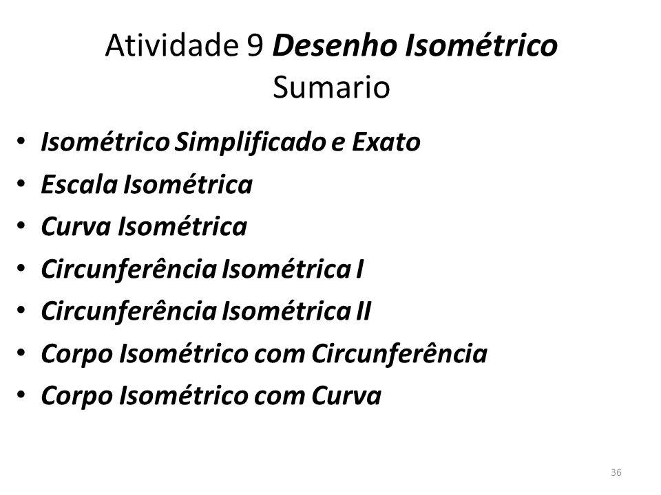 Atividade 9 Desenho Isométrico Sumario Isométrico Simplificado e Exato Escala Isométrica Curva Isométrica Circunferência Isométrica I Circunferência Isométrica II Corpo Isométrico com Circunferência Corpo Isométrico com Curva 36