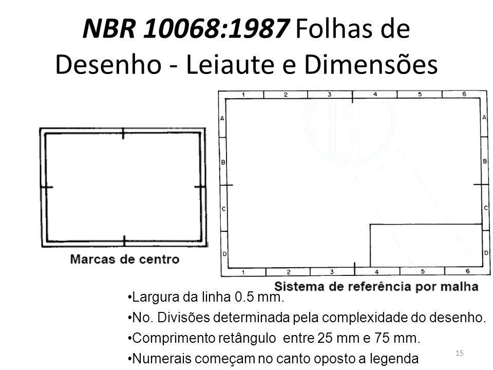 NBR 10068:1987 Folhas de Desenho - Leiaute e Dimensões Largura da linha 0.5 mm. No. Divisões determinada pela complexidade do desenho. Comprimento ret