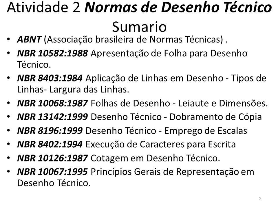 Atividade 2 Normas de Desenho Técnico Sumario ABNT (Associação brasileira de Normas Técnicas). NBR 10582:1988 Apresentação de Folha para Desenho Técni