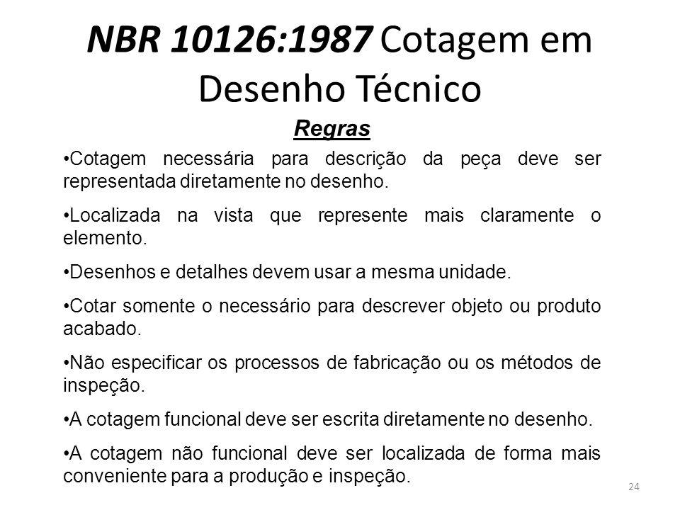 NBR 10126:1987 Cotagem em Desenho Técnico Regras Cotagem necessária para descrição da peça deve ser representada diretamente no desenho. Localizada na