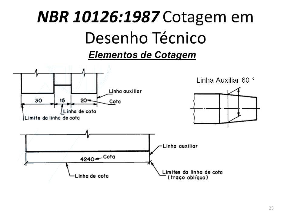 NBR 10126:1987 Cotagem em Desenho Técnico Elementos de Cotagem Linha Auxiliar 60 ° 25