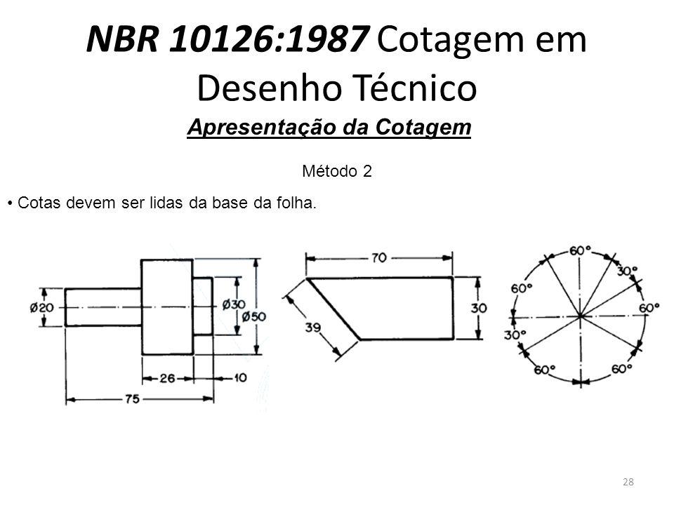 NBR 10126:1987 Cotagem em Desenho Técnico Apresentação da Cotagem Método 2 Cotas devem ser lidas da base da folha. 28