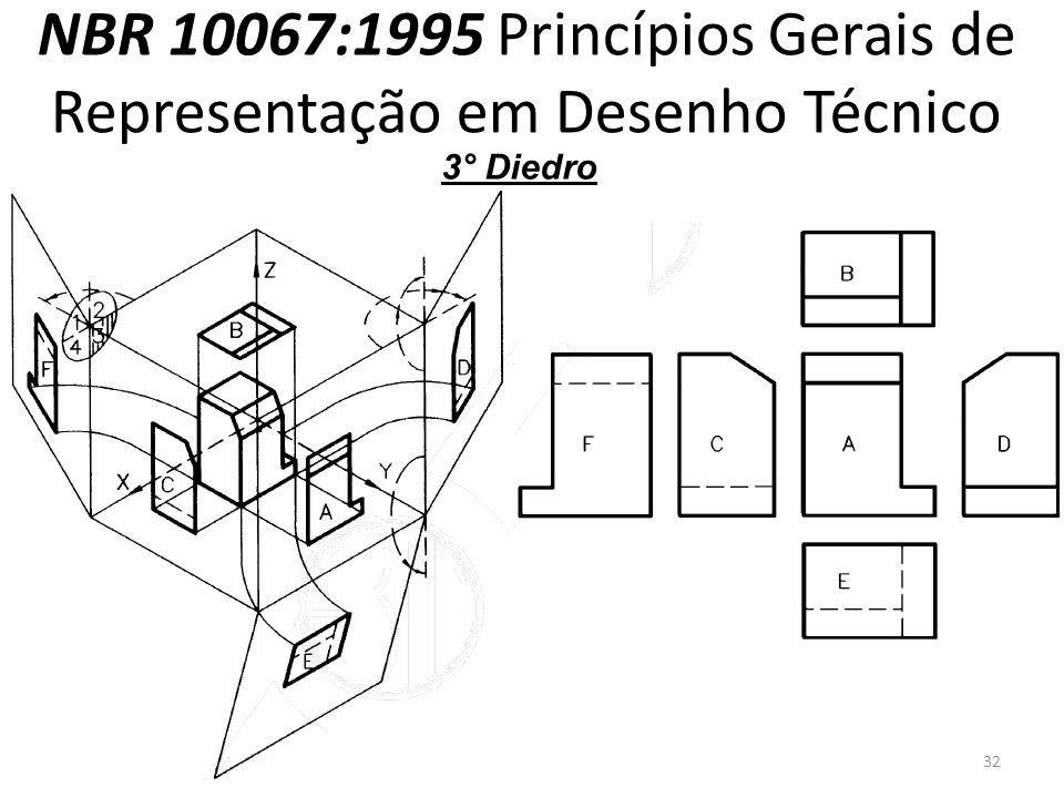 NBR 10067:1995 Princípios Gerais de Representação em Desenho Técnico 3° Diedro 32
