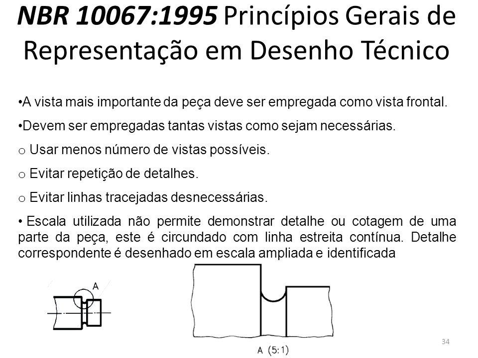 NBR 10067:1995 Princípios Gerais de Representação em Desenho Técnico A vista mais importante da peça deve ser empregada como vista frontal. Devem ser