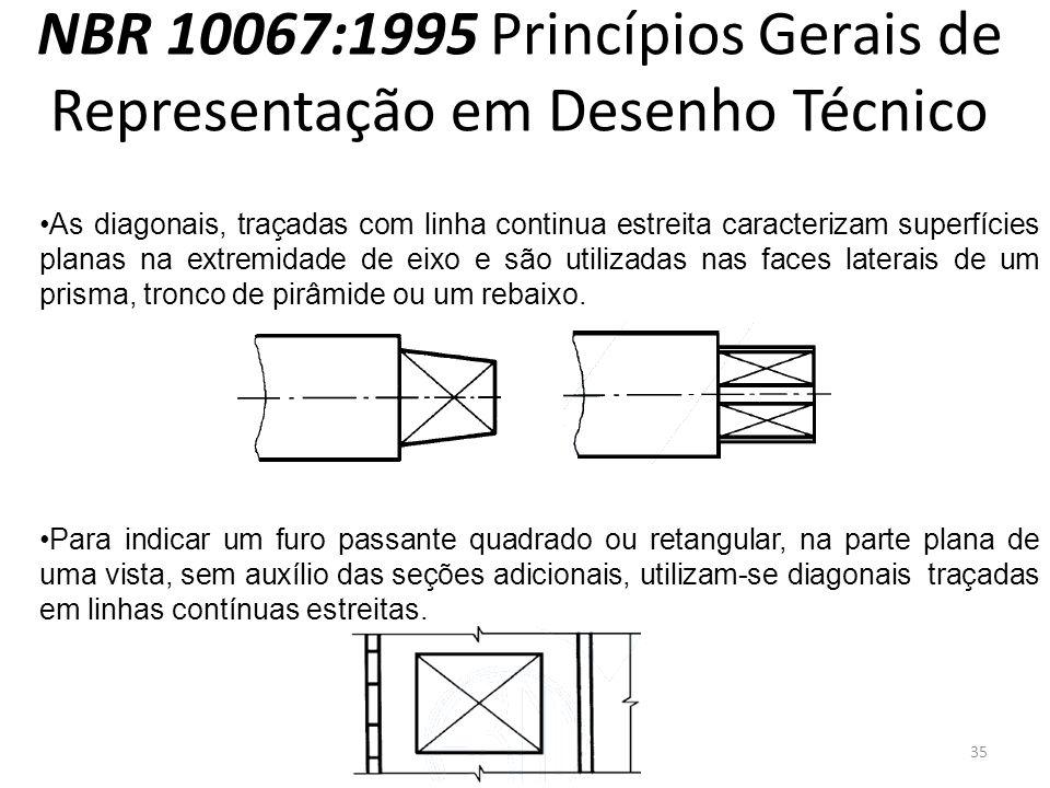 NBR 10067:1995 Princípios Gerais de Representação em Desenho Técnico As diagonais, traçadas com linha continua estreita caracterizam superfícies plana