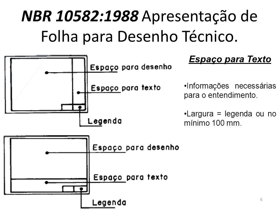 NBR 10582:1988 Apresentação de Folha para Desenho Técnico. Espaço para Texto Informações necessárias para o entendimento. Largura = legenda ou no míni