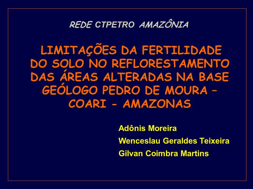 Adônis Moreira Wenceslau Geraldes Teixeira Gilvan Coimbra Martins LIMITAÇÕES DA FERTILIDADE DO SOLO NO REFLORESTAMENTO DAS ÁREAS ALTERADAS NA BASE GEÓ