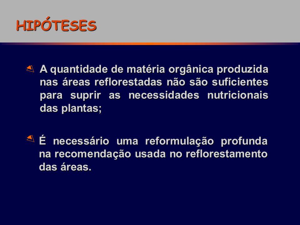 HIPÓTESES A quantidade de matéria orgânica produzida nas áreas reflorestadas não são suficientes para suprir as necessidades nutricionais das plantas;