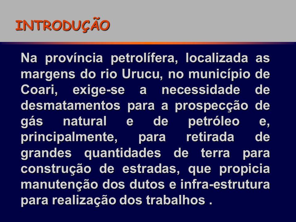 INTRODUÇÃO Na província petrolífera, localizada as margens do rio Urucu, no município de Coari, exige-se a necessidade de desmatamentos para a prospec
