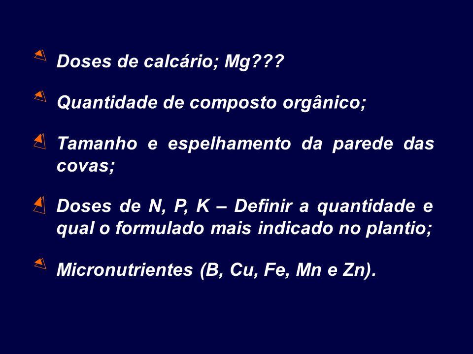 Quantidade de composto orgânico; Doses de calcário; Mg??? Tamanho e espelhamento da parede das covas; Doses de N, P, K – Definir a quantidade e qual o