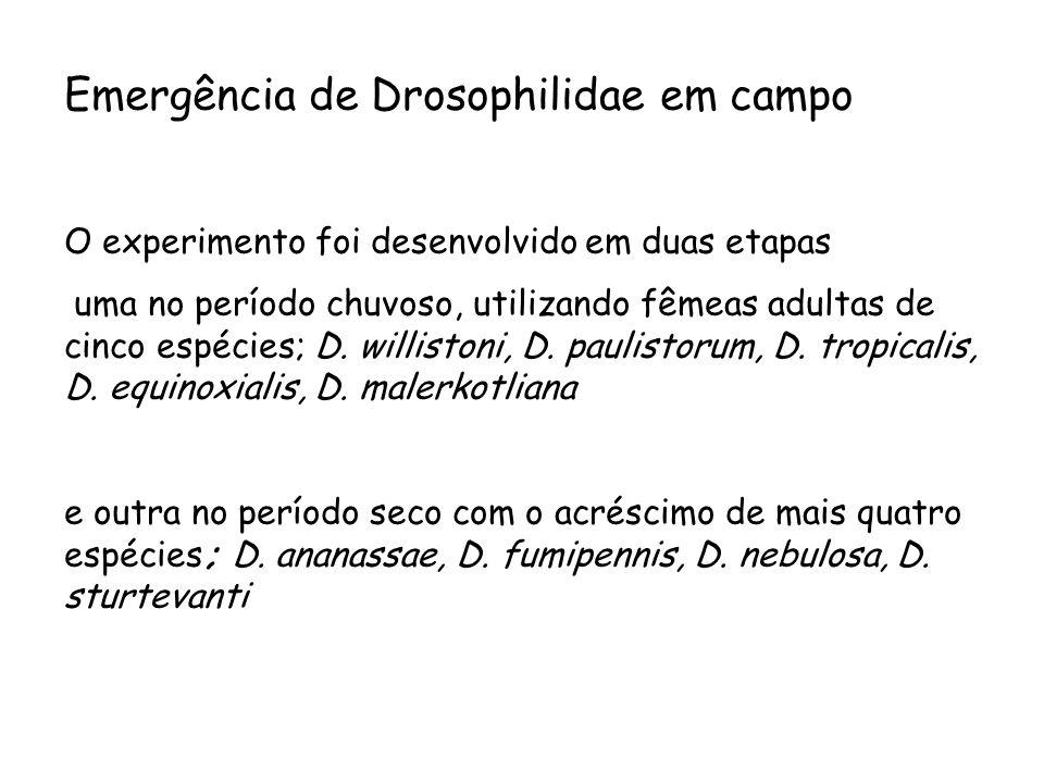 Emergência de Drosophilidae em campo O experimento foi desenvolvido em duas etapas uma no período chuvoso, utilizando fêmeas adultas de cinco espécies; D.