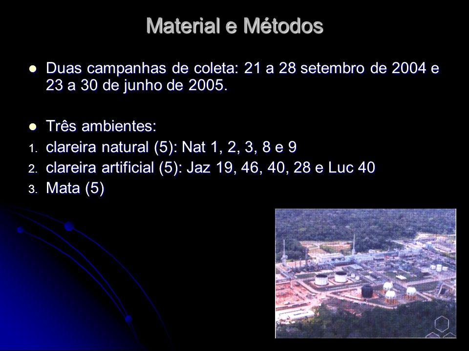Material e Métodos Duas campanhas de coleta: 21 a 28 setembro de 2004 e 23 a 30 de junho de 2005. Duas campanhas de coleta: 21 a 28 setembro de 2004 e