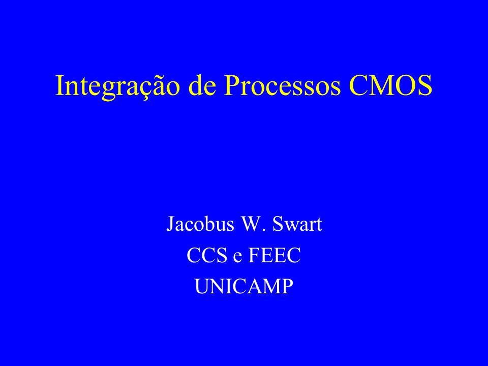 Sumário - CMOS Introdução a CMOS Latch-up Seqüência na Integração de Processo CMOS Estruturas de Ilhas Isolação entre dispositivos Canal e dielétrico de porta Material e terminal de porta Engenharia de Fonte-Dreno Formação de silicetos Interconexões.