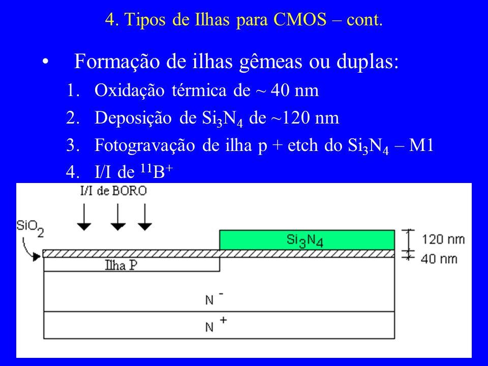 4. Tipos de Ilhas para CMOS – cont. Formação de ilhas gêmeas ou duplas: 1.Oxidação térmica de ~ 40 nm 2.Deposição de Si 3 N 4 de ~120 nm 3.Fotogravaçã