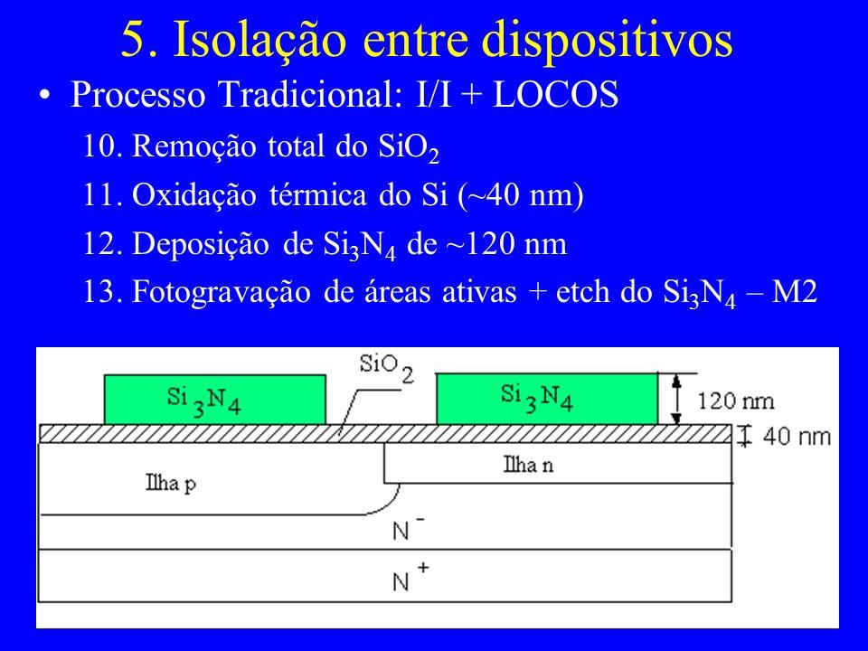 5. Isolação entre dispositivos Processo Tradicional: I/I + LOCOS 10. Remoção total do SiO 2 11. Oxidação térmica do Si (~40 nm) 12. Deposição de Si 3