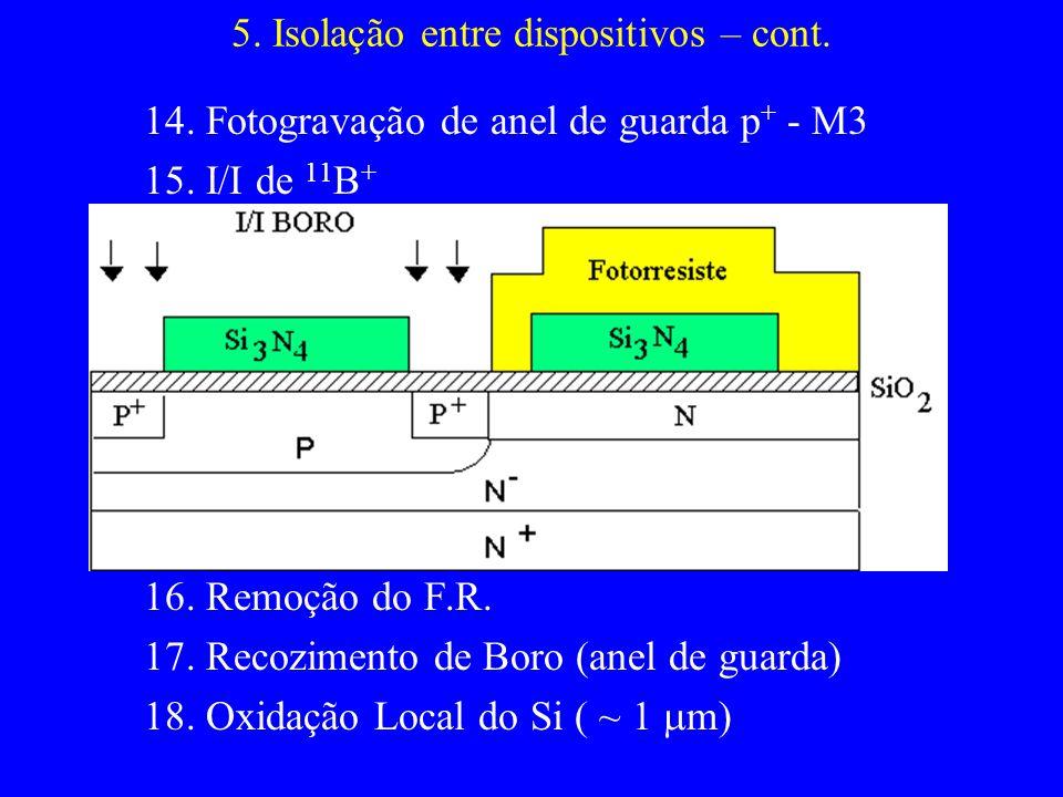 5. Isolação entre dispositivos – cont. 14. Fotogravação de anel de guarda p + - M3 15. I/I de 11 B + 16. Remoção do F.R. 17. Recozimento de Boro (anel