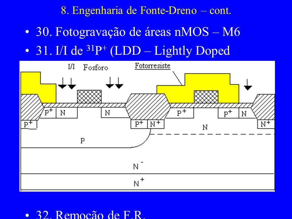 8. Engenharia de Fonte-Dreno – cont. 30. Fotogravação de áreas nMOS – M6 31. I/I de 31 P + (LDD – Lightly Doped Drain) 32. Remoção de F.R.