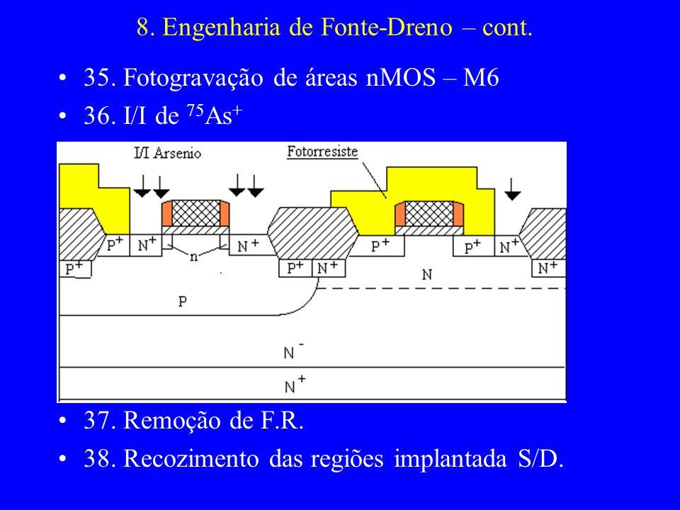 8. Engenharia de Fonte-Dreno – cont. 35. Fotogravação de áreas nMOS – M6 36. I/I de 75 As + 37. Remoção de F.R. 38. Recozimento das regiões implantada