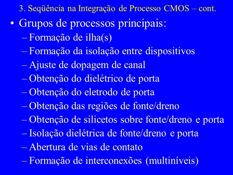 3. Seqüência na Integração de Processo CMOS – cont. Grupos de processos principais: –Formação de ilha(s) –Formação da isolação entre dispositivos –Aju