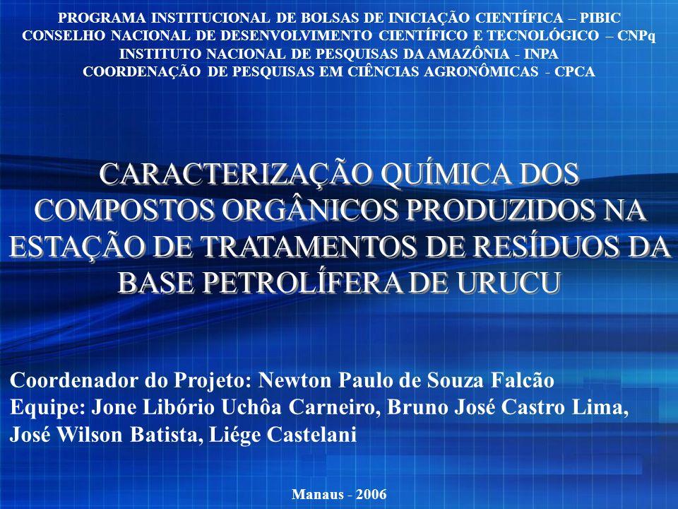 CARACTERIZAÇÃO QUÍMICA DOS COMPOSTOS ORGÂNICOS PRODUZIDOS NA ESTAÇÃO DE TRATAMENTOS DE RESÍDUOS DA BASE PETROLÍFERA DE URUCU Manaus - 2006 PROGRAMA IN