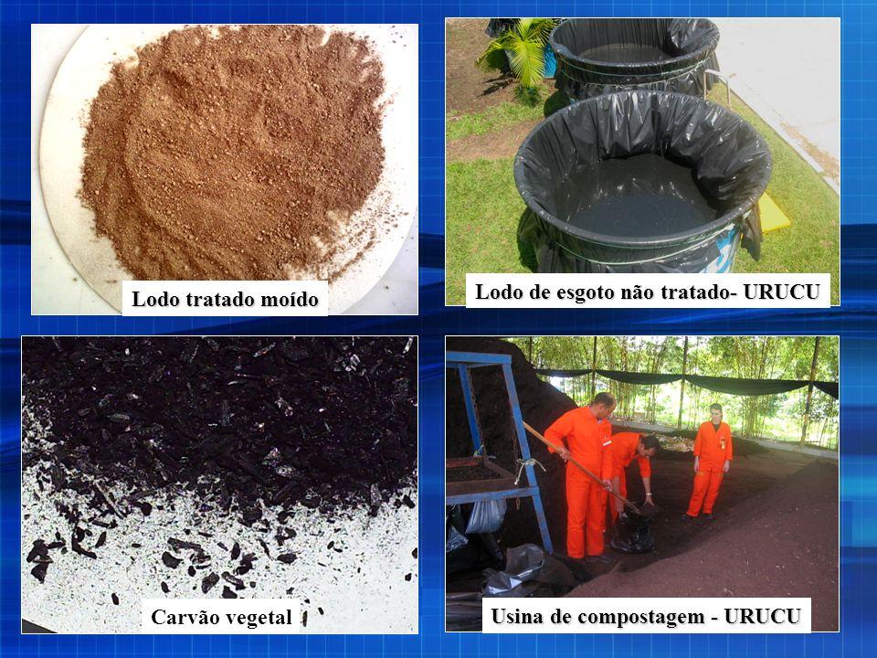 Usina de compostagem - URUCU Lodo de esgoto não tratado- URUCU Carvão vegetal Lodo tratado moído