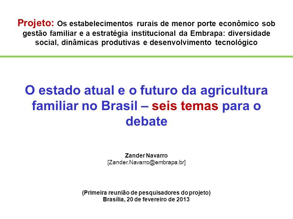 Projeto: Os estabelecimentos rurais de menor porte econômico sob gestão familiar e a estratégia institucional da Embrapa: diversidade social, dinâmica