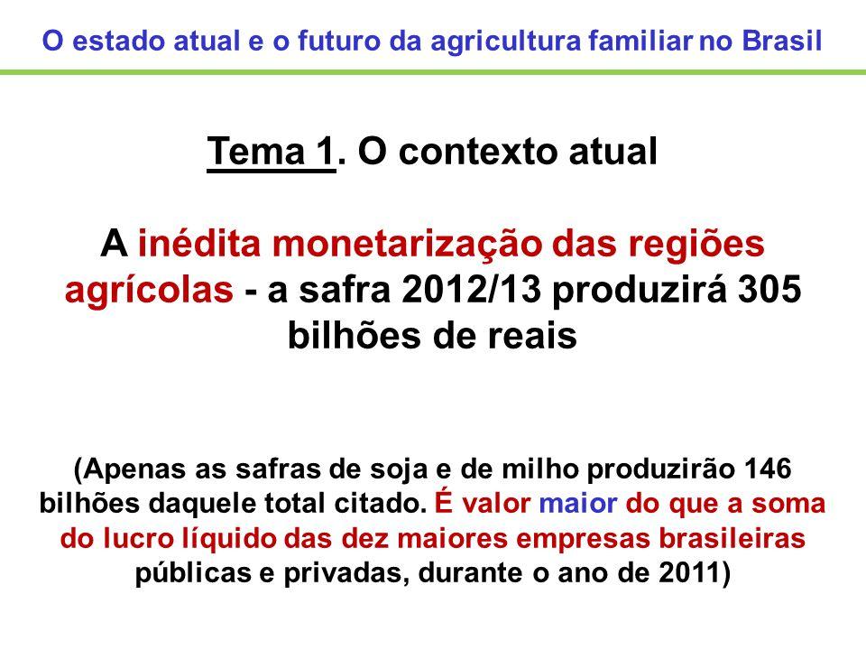 O estado atual e o futuro da agricultura familiar no Brasil Tema 1. O contexto atual A inédita monetarização das regiões agrícolas - a safra 2012/13 p