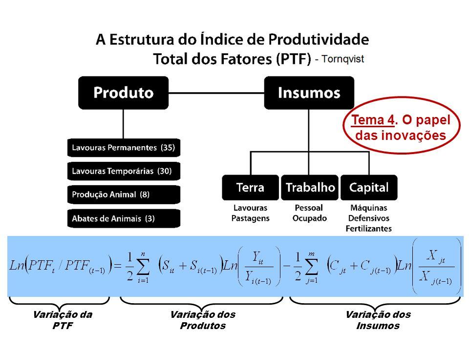 Variação da PTF Variação dos Produtos Variação dos Insumos Tema 4. O papel das inovações