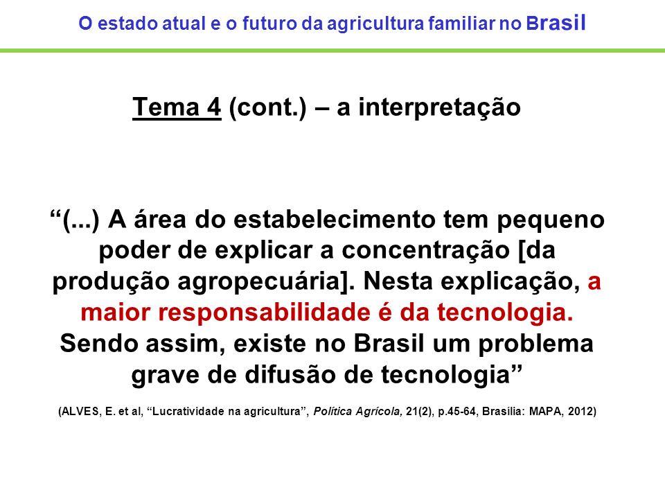 O estado atual e o futuro da agricultura familiar no B rasil Tema 4 (cont.) – a interpretação (...) A área do estabelecimento tem pequeno poder de exp