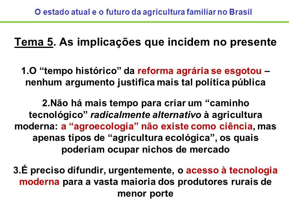 O estado atual e o futuro da agricultura familiar no Brasil Tema 5. As implicações que incidem no presente 1.O tempo histórico da reforma agrária se e