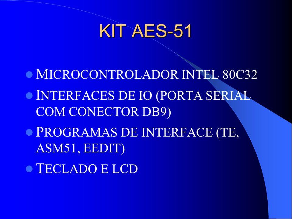 KIT AES-51 M ICROCONTROLADOR INTEL 80C32 I NTERFACES DE IO (PORTA SERIAL COM CONECTOR DB9) P ROGRAMAS DE INTERFACE (TE, ASM51, EEDIT) T ECLADO E LCD